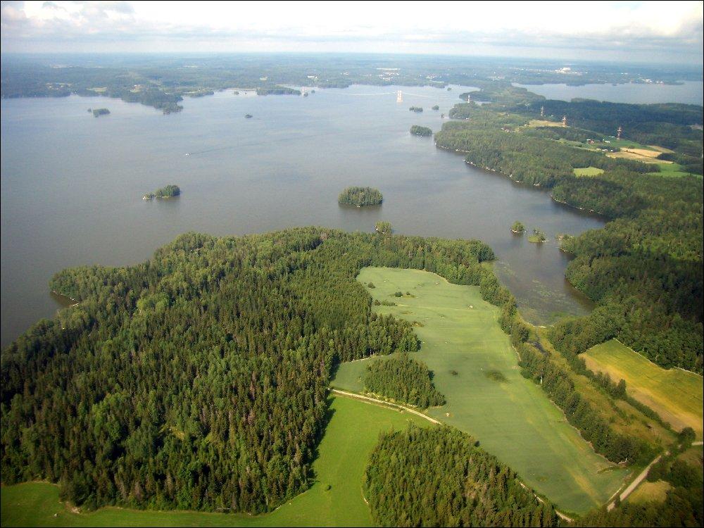 Tampere, zona dei laghi dall'aereo